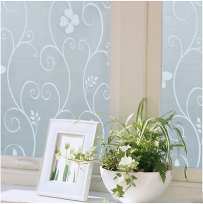 Hot Sweet 45x100cm Frosted Privacy Glass Window Flower Sticker Film Home Office