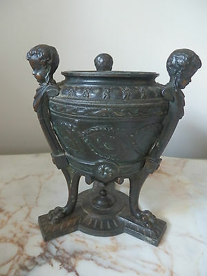 Superb Antique French Cast Metal Cherub/bronze Urn With Original Ceramic Liner