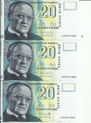 Finland 20 Markkaa 1993  P 123. Xf Condition. One Note. 4Rw 01Set