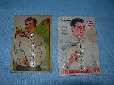 2 Vintage 1920-30's Men's Pearl Buttons Cards, Lady Washington & Luckyday