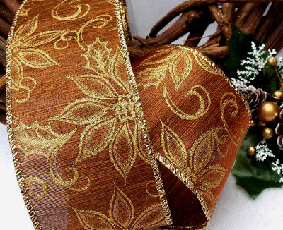 1m 65mm WIRED CHRISTMAS RIBBON BROWN & SPARKLY GOLD PONSETTIA   TREE BOW FLORIST