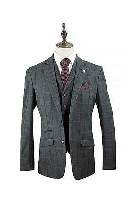 New Stylish Men's Casual Slim fit Suit Tweed Checked Blazers Waistcoats Trouser