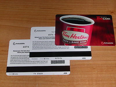 Tim Hortons 2011 USA Cafe & Bake Shop Red Coffee Cup Gift Cards