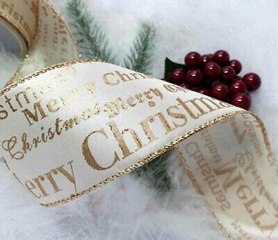 1 mtr  65mm WIRED IVORY TAFFETA & SHINY GOLD, MERRY XMAS SCRIPT CHRISTMAS RIBBON