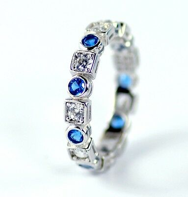 925 Sterling Silver Blue Sapphire Cubic Zirconia CZ Crystal Women Eternity Band