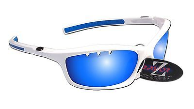 RayZor Uv400 White Vented Blue Mirrored Lens Cricket Wrap Sunglasses RRP£49