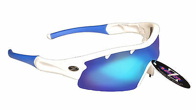 RayZor Uv400 White Vented 1 Piece Blue Mirrored Lens Cricket Sunglasses RRP£49