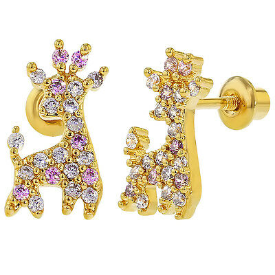 18k Gold Plated Children Giraffe Pink Clear CZ Screwback Baby Girls Earrings