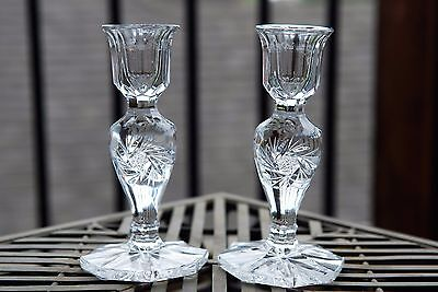 Beautiful Pair of Vintage Lead Crystal Candlestick Holder Cut Star of David 5.5""