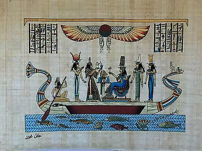 New Hand Painted Egyptian Art on Papyrus: On a Barge Hathor, Ma'at, Isis A13