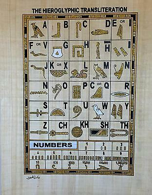 New Hand Painted Egyptian Art on Papyrus Heirogliphic Transliteration Glitter 68