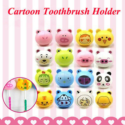 6Colors HOME Cartoon Animal Head Toothbrush Holder stand Cute Cup Mount Suction