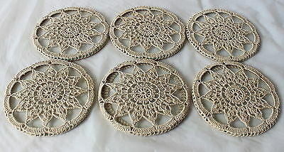 Vintage RETRO Set 6 GLASS COASTERS with DOILY CROTCHET lace covers