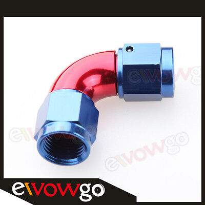 90 Degree AN-10 AN10 To AN10 10AN Female To Female Full Flow Adapter Red/Blue