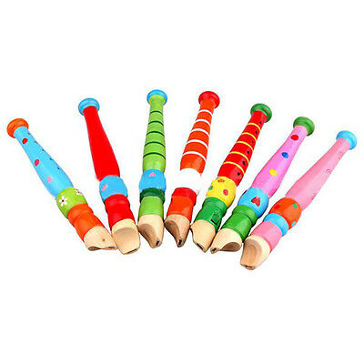 Colorful Fun Kids Wooden Flute Early Art Developmental Toys Gift Portable