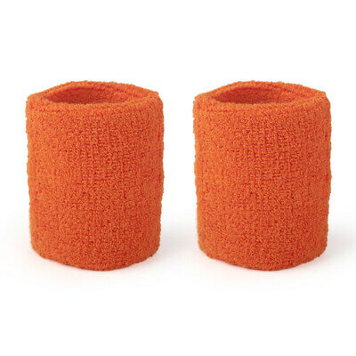 10 x 2 ORANGE TWO WRIST SWEATBANDS ATHLETIC SPORTS SWEATBAND WRISTBANDS SUPPORT