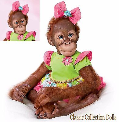 "Ashton Drake ""MOLLIE""- 20"" LIFELIKE BABY MONKEY DOLL -NEW- IN STOCK NOW!"