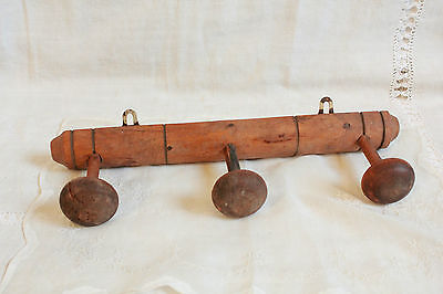 RUSTIC CHARM FAUX BAMBOO VINTAGE FRENCH WOODEN HANGING RACK COAT 3 PEGS C1900's