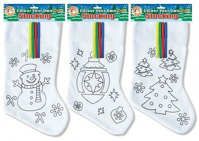 Personalised Colour Your Own Christmas Stocking Sack with Pens - Childrens Craft