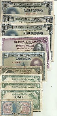 Spain Lot 10 Notes. Special Offer. Same In Scan. 4Rw 02Set