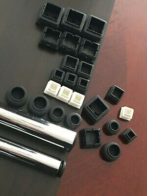 Plastic Square Table Chair Leg Feet Tube Pipe Ends Insert Cap Black Bungs CHOOSE