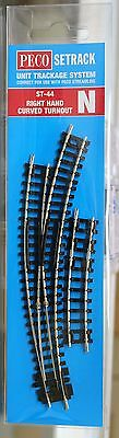 N Scale - PECO SETRACK ST-44 INSULFROG Code 80 Right Hand Curved Turnout