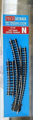N Scale - PECO SETRACK ST-45 INSULFROG Code 80 Left Hand Curved Turnout