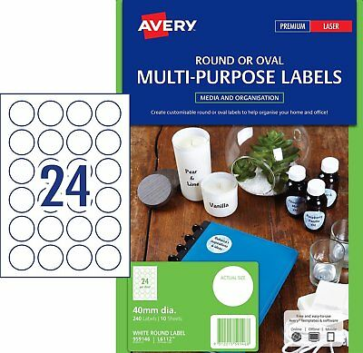 Avery White Round Labels L6112 Laser Inkjet 240pk 40mm Diameter 959146