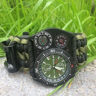 Outdoor Survival Watch Bracelet Compass Paracord Rope Fire Thermometer Whistle