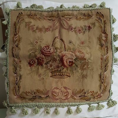 "20"" Huge OLD Antique Vintage Rare TAPESTRY French Aubusson Pillow Cushion"