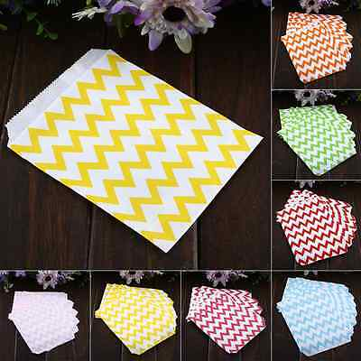 25X Chevron Wedding Birthday Sweet Candy Favour Popcorn Paper Party Bags 7Color