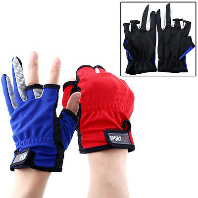 1 Pair ANTI-SLIP 3 Low Fingers Fishing Gloves Clothing Skidproof Durable Protect