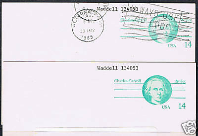 United States #UX106 14 cent Charles Carroll 2 Used Postcards