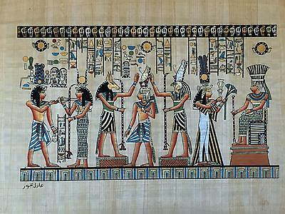 NEW HAND PAINTED EGYPTIAN ART ON PAPYRUS:Hathor Offers Necklace to Amun A40