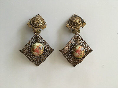 Victorian Antique Gold Filled Filigree hand painted ? Dangle Clip On Earrings