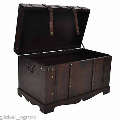 New Brown Vintage Large Wooden Treasure Chest Trunk Craft Storage Home Furniture