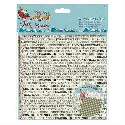 "12 6"" X 6"" Jolly Santa Christmas Card Blanks With Envelopes Card Making Supplies"