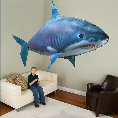 Hot Air Swimmer Remote Control RC Flying Inflatable Fish Shark Blimp Balloon POP