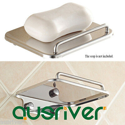 New Wall Mounted 304 Stainless Steel Soap Dish Holder Tray Bathroom Bath Shower