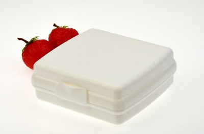 New Tupperware Sandwich Keeper Lunch Box White Hinged No Lost Lids New