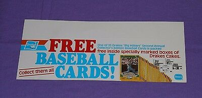 vintage Borden DRAKES CAKES BASEBALL CARDS SHELF TALKER sign