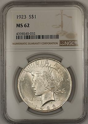 1923 Silver Peace Dollar $1 NGC MS-62 (Better Coin) (14f)