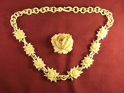 Antique Victorian Bovine Bone Hand Carved Rose Flower Necklace and Broach Rare