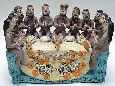 VINTAGE 50's POLYCHROME OCUMICHO MEXICAN POTTERY SCULPTURE LAST SUPPER