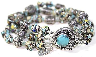 Three Strand Bracelet Vintage Italian Murano Beads Exquisite Sterl Silver  D242