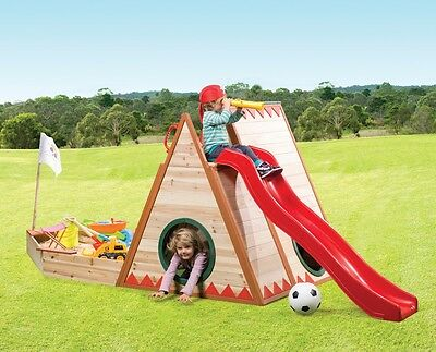 Cubby House with Pirate Sandpit, Slide and Rock Climbing