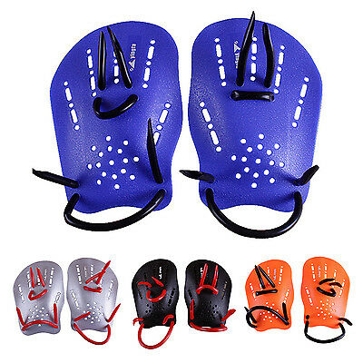 yingfa Pair Gray Rubber Swimming Hand Paddles Webbed Gloves HY