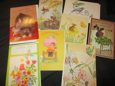 8 Unused Animals Birds Butterlies Inspirational Get Well Greeting Cards