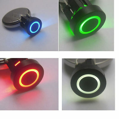 Blue/Red/Green/Yellow 10mm BLK Cap Circle 12V Momentary Tact Push Button Switch