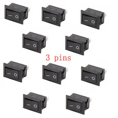 10x SPST On/Off Black 15x10mm I/O Mini 12V Rocker Switch for Automotive/Car/Boat
